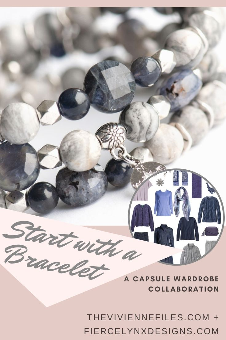Build a capsule wardrobe starting with an iolite bracelet in purple grey and navy