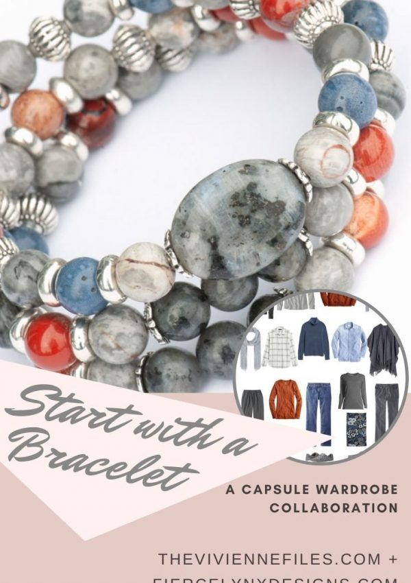 Build a capsule wardrobe starting with a bracelet in grey and blue