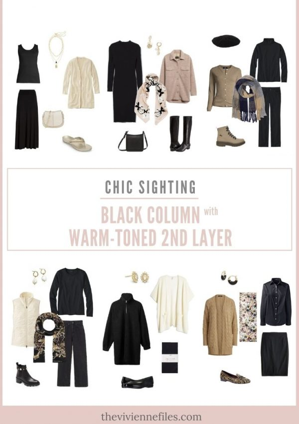 CHIC SIGHTINGS BLACK COLUMN WITH WARM-TONED 2ND LAYER
