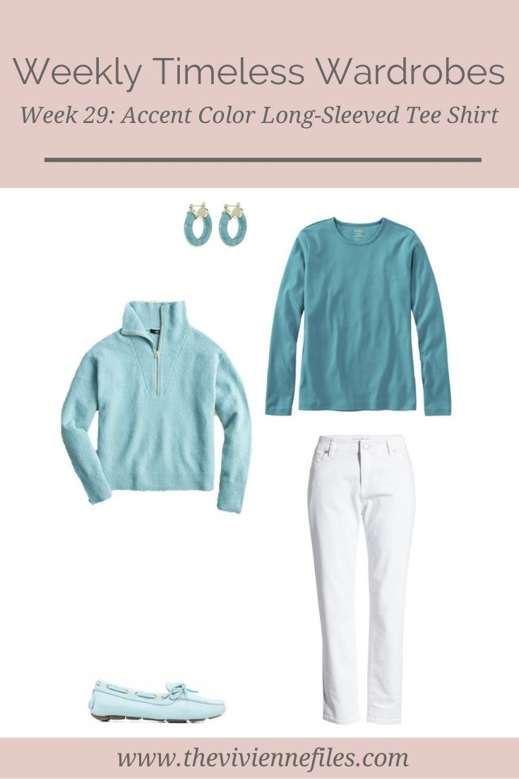 WEEKLY TIMELESS WARDROBE #29 – AN ACCENT COLOR LONG-SLEEVED TEE SHIRT